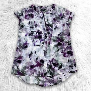 Simply Vera Wang Floral Pop Over Blouse Top
